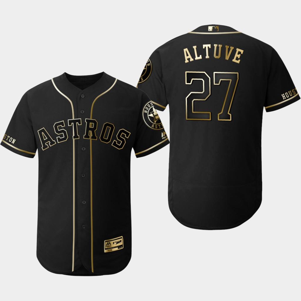 Astros 27 Jose Altuve Black Gold Flexbase Jersey
