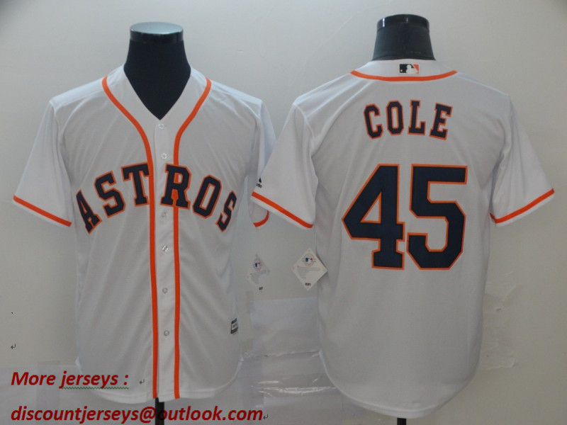 Astros 45 Gerrit Cole White Cool Base Jersey