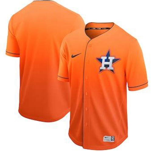 Astros Blank Orange Fade Authentic Stitched Baseball Jersey