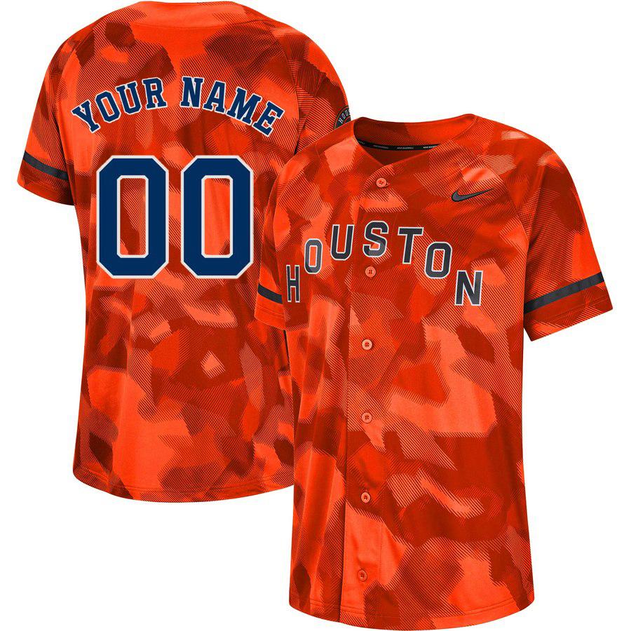 Astros Orange Camo Fashion Men's Customized Jersey