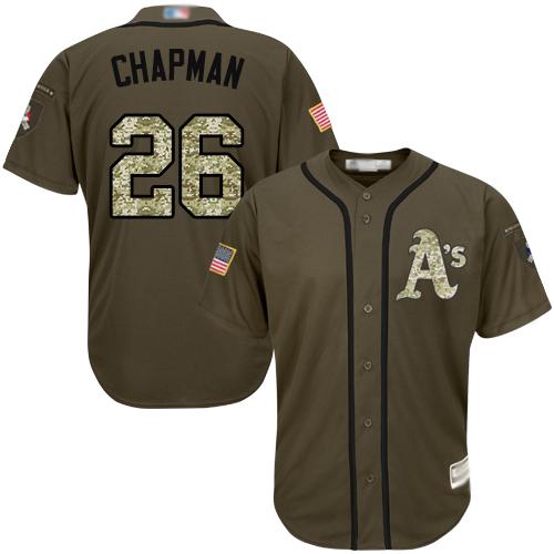 Athletics #26 Matt Chapman Green Salute to Service Stitched Baseball Jersey