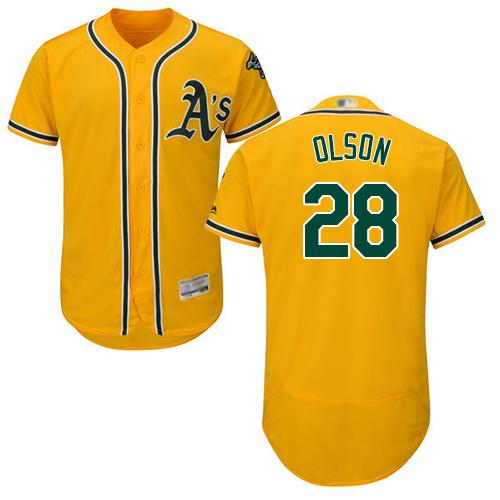 Athletics #28 Matt Olson Gold Flexbase Authentic Collection Stitched Baseball Jersey