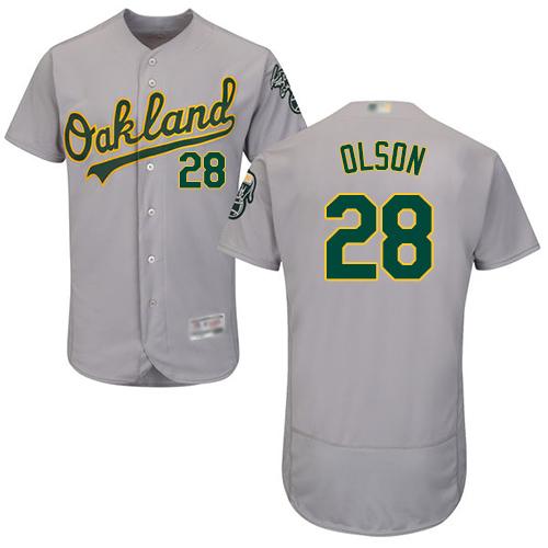Athletics #28 Matt Olson Grey Flexbase Authentic Collection Stitched Baseball Jersey