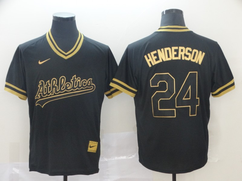 Athletics 24 Rickey Henderson Black Gold Nike Cooperstown Collection Legend V Neck Jersey