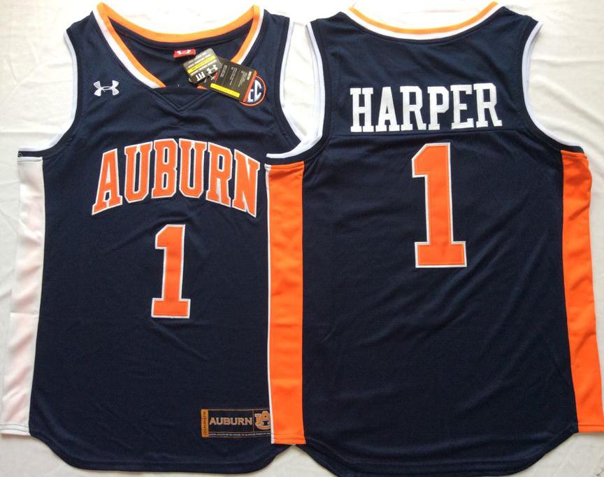 Auburn Tigers 1 Jared Harper Navy College Basketball Jersey