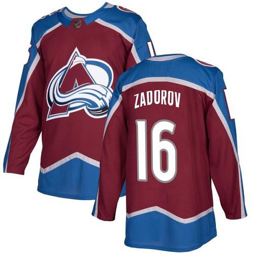 Avalanche #16 Nikita Zadorov Burgundy Home Authentic Stitched Hockey Jersey