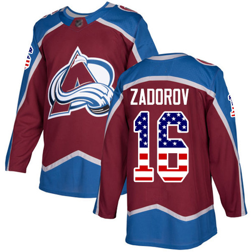 Avalanche #16 Nikita Zadorov Burgundy Home Authentic USA Flag Stitched Hockey Jersey