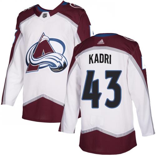 Avalanche #43 Nazem Kadri White Road Authentic Stitched Hockey Jersey