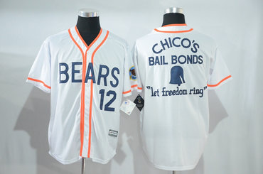 Bad News Bears #12 1976 Chico's Bail Bonds White Stitched Movie Jersey