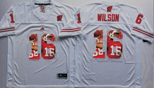 Badgers #16 Russell Wilson White Player Fashion Stitched NCAA Jersey