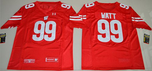 Badgers #99 J.J. Watt Red Under Armour Stitched NCAA Jersey