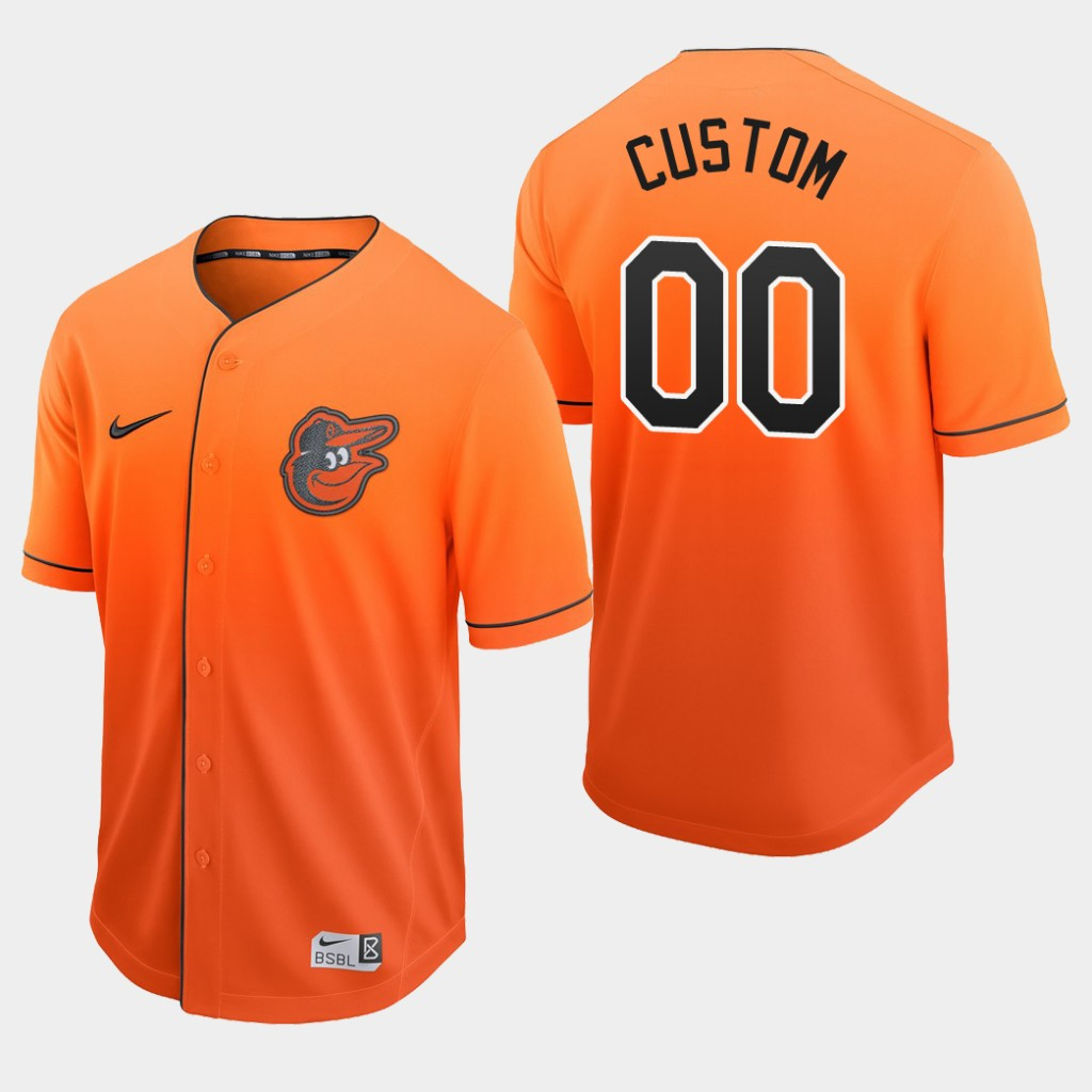 Baltimore Orioles Custom Orange Fade Authentic Jersey