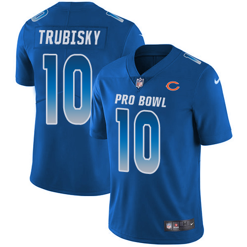 Bears #10 Mitchell Trubisky Royal Youth Stitched Football Limited NFC 2019 Pro Bowl Jersey