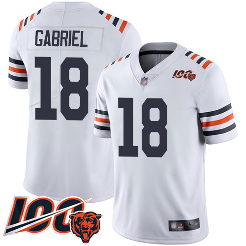 Bears #18 Taylor Gabriel White Alternate Men's Stitched Football Vapor Untouchable Limited 100th Season Jersey