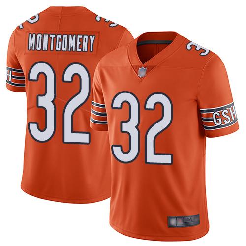 Bears #32 David Montgomery Orange Men's Stitched Football Limited Rush Jersey