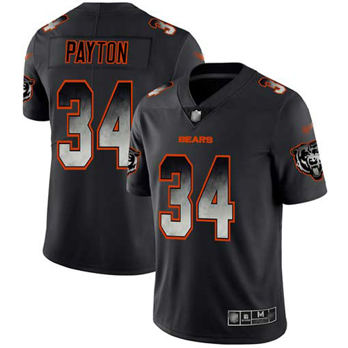 Bears #34 Walter Payton Black Men's Stitched Football Vapor Untouchable Limited Smoke Fashion Jersey