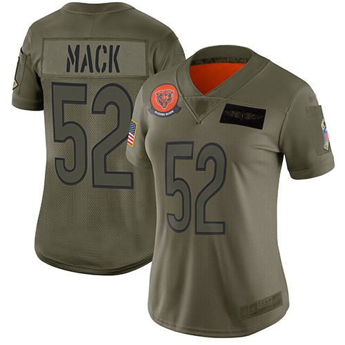 Bears #52 Khalil Mack Camo Women's Stitched Football Limited 2019 Salute to Service Jersey