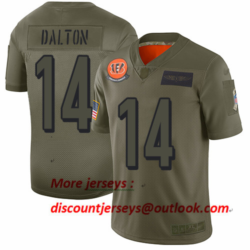 Bengals #14 Andy Dalton Camo Men's Stitched Football Limited 2019 Salute To Service Jersey
