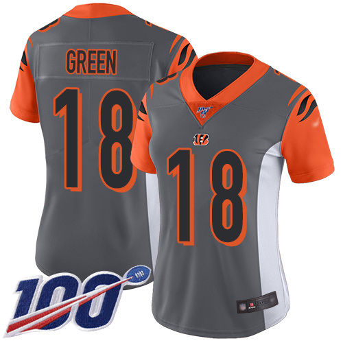 Bengals #18 A.J. Green Silver Women's Stitched Football Limited Inverted Legend 100th Season Jersey