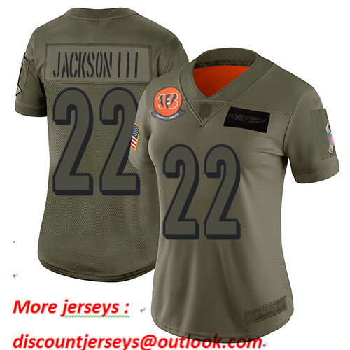 Bengals #22 William Jackson III Camo Women's Stitched Football Limited 2019 Salute to Service Jersey