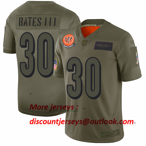 Bengals #30 Jessie Bates III Camo Men's Stitched Football Limited 2019 Salute To Service Jersey
