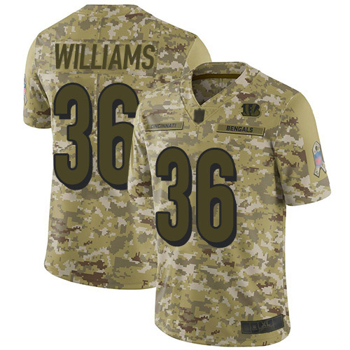 Bengals #36 Shawn Williams Camo Men's Stitched Football Limited 2018 Salute To Service Jersey