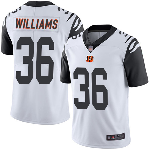 Bengals #36 Shawn Williams White Men's Stitched Football Limited Rush Jersey