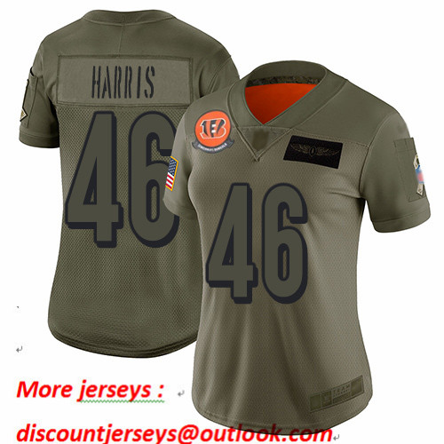 Bengals #46 Clark Harris Camo Women's Stitched Football Limited 2019 Salute to Service Jersey