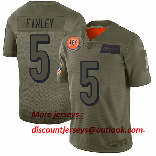 Bengals #5 Ryan Finley Camo Men's Stitched Football Limited 2019 Salute To Service Jersey