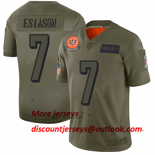 Bengals #7 Boomer Esiason Camo Men's Stitched Football Limited 2019 Salute To Service Jersey