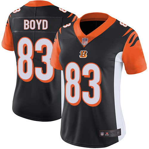 Bengals #83 Tyler Boyd Black Team Color Women's Stitched Football Vapor Untouchable Limited Jersey