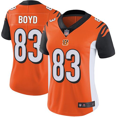 Bengals #83 Tyler Boyd Orange Alternate Women's Stitched Football Vapor Untouchable Limited Jersey