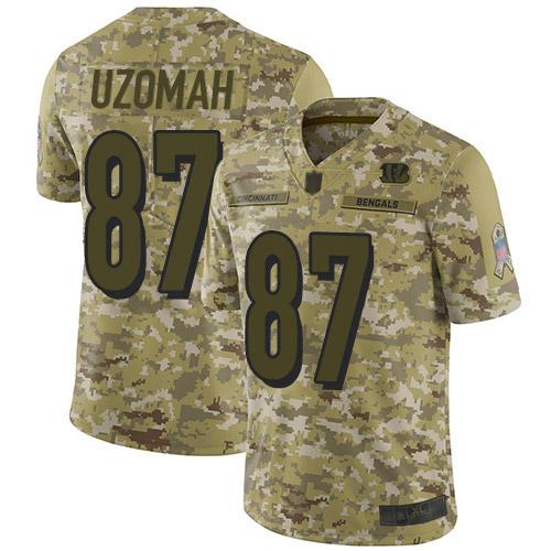 Bengals #87 C.J. Uzomah Camo Men's Stitched Football Limited 2018 Salute To Service Jersey