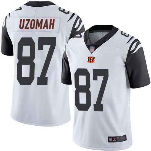 Bengals #87 C.J. Uzomah White Men's Stitched Football Limited Rush Jersey