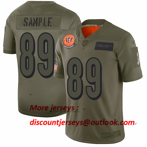 Bengals #89 Drew Sample Camo Men's Stitched Football Limited 2019 Salute To Service Jersey