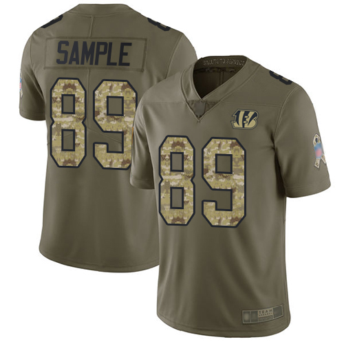 Bengals #89 Drew Sample Olive Camo Men's Stitched Football Limited 2017 Salute To Service Jersey