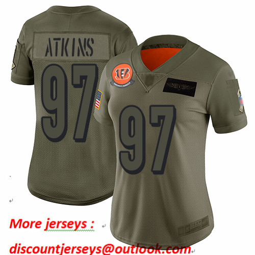 Bengals #97 Geno Atkins Camo Women's Stitched Football Limited 2019 Salute to Service Jersey