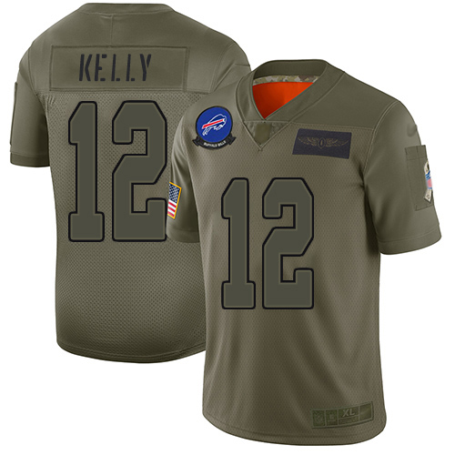 Bills #12 Jim Kelly Camo Men's Stitched Football Limited 2019 Salute To Service Jersey