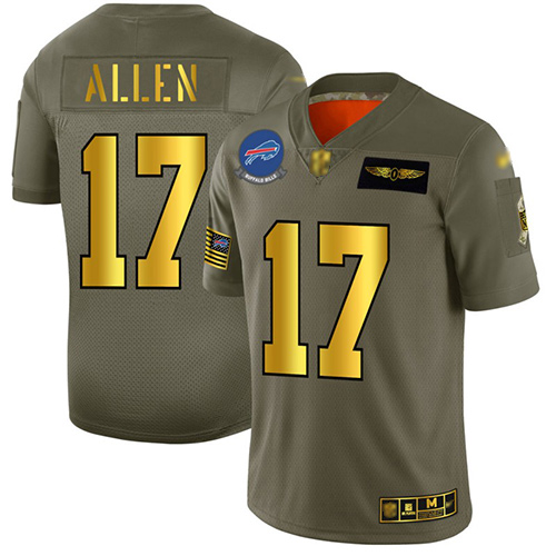 Bills #17 Josh Allen Camo Gold Men's Stitched Football Limited 2019 Salute To Service Jersey
