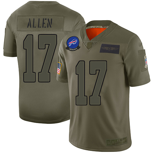 Bills #17 Josh Allen Camo Men's Stitched Football Limited 2019 Salute To Service Jersey