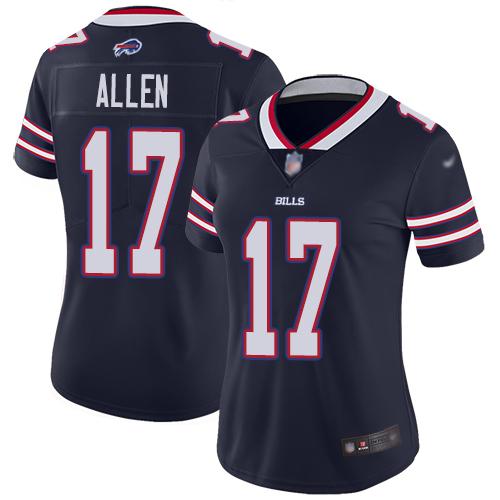 Bills #17 Josh Allen Navy Women's Stitched Football Limited Inverted Legend Jersey