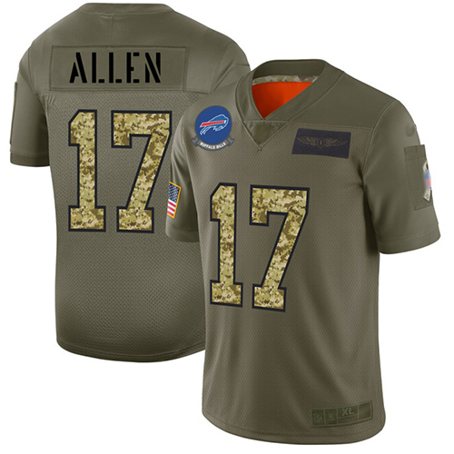 Bills #17 Josh Allen Olive Camo Men's Stitched Football Limited 2019 Salute To Service Jersey