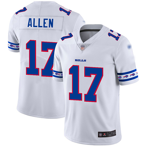 Bills #17 Josh Allen White Men's Stitched Football Limited Team Logo Fashion Jersey
