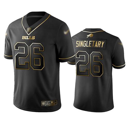 Bills #26 Devin Singletary Black Men's Stitched Football Limited Golden Edition Jersey