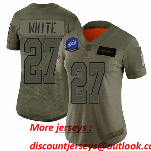Bills #27 Tre'Davious White Camo Women's Stitched Football Limited 2019 Salute to Service Jersey