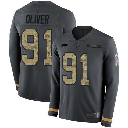 Bills #91 Ed Oliver Anthracite Salute to Service Men's Stitched Football Limited Therma Long Sleeve Jersey