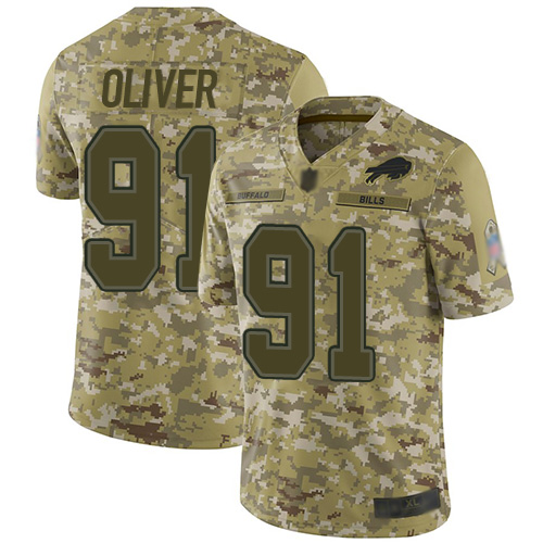 Bills #91 Ed Oliver Camo Men's Stitched Football Limited 2018 Salute To Service Jersey