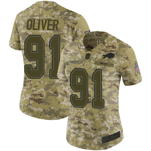 Bills #91 Ed Oliver Camo Women's Stitched Football Limited 2018 Salute to Service Jersey
