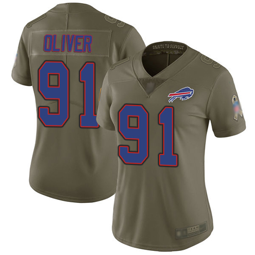 Bills #91 Ed Oliver Olive Women's Stitched Football Limited 2017 Salute to Service Jersey