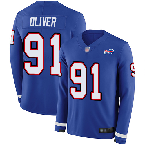 Bills #91 Ed Oliver Royal Blue Team Color Men's Stitched Football Limited Therma Long Sleeve Jersey